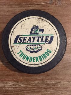 557ef1eafb8a8 seattle thunderbirds whl common shied reverse 1985-90 game used hockey puck  from  7.0 Hockey