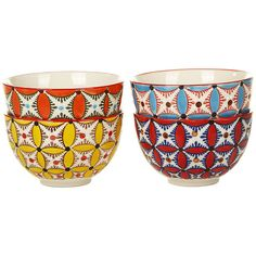 Pols Potten Colour Hippy Bowls - Set of 4 (55 AUD) ❤ liked on Polyvore featuring home, kitchen & dining, serveware, fillers, kitchen, decor, furniture, multi, handpainted plates and ceramic bowl