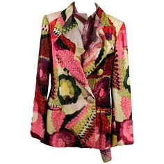 LAURA BIAGIOTTI Vintage Multicolor Velvet BLAZER & Silk SHIRT Co-Ord SET…