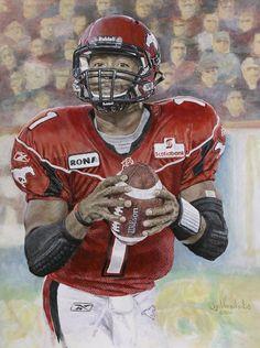 """Burris"" acrylic on canvas painting of Henry Burris, Calgary Stampeders by Joe Versikaitis"