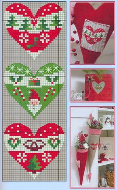 Cross-stitch Christmas Hearts, part color chart on part Gallery. Cross Stitch Christmas Ornaments, Xmas Cross Stitch, Christmas Hearts, Cross Stitch Heart, Cross Stitch Cards, Christmas Embroidery, Christmas Cross, Cross Stitching, Christmas Alphabet
