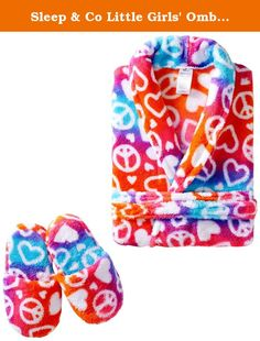 Sleep & Co Little Girls' Ombre Hearts Peace Robe With Slippers Set, Multi, 4T. Plush robe and slipper set.