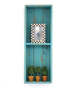 Take a look at this Turquoise Wood Double Shadow Box today!