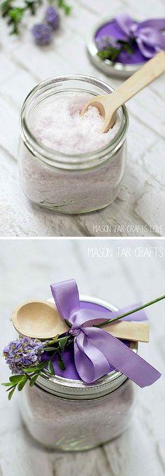 Lavender Mint Bath Salts | 17 DIY Bath Salts | Learn How To Make The Most Relaxing Bath Salt Recipes by DIY Ready at  http://diyready.com/17-diy-bath-salts-bath-salt-recipe/