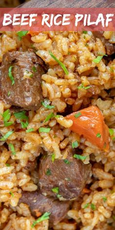A savory one-pot meal made with juicy tender beef chunks mixed with vegetables and rice. The perfect instant pot dinner recipe. A savory one-pot meal made with juicy tender beef chunks mixed with vegetables and rice. The perfect instant pot dinner recipe. Recipes With Beef And Rice, Beef Chunks Recipes, Beef Recipes, Beef Meals, Cooker Recipes, Easy Recipes, Recipies, One Pot Rice Meals, Easy One Pot Meals