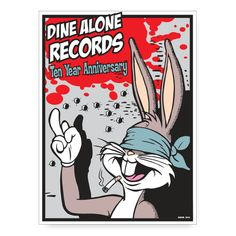 Limited edition Frank Kozik poster - Dine Alone Records Poster Series, Designer Toys, Illustrations And Posters, Various Artists, Alone, Screen Printing, Illustration Art, Stamp, Animation