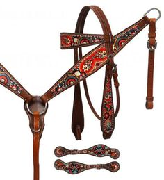 Showman Red Paisley Print Headstall, Breast Collar, Reins Set With Matching Spur Straps