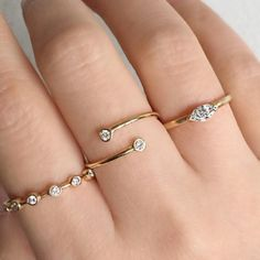 Vale Jewelry Lunette Ring, Diamond Wrap Ring and Françoise Ring