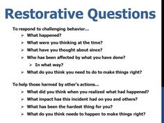 restorative practices - Google Search