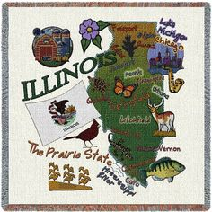 Illinois State Art Tapestry Lap Throw