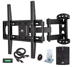 Mounting Dream MD2377 KT TV Wall Mount Bracket Kit With Surge Protector 2  HDMI Cables