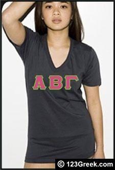 American Apparel Fine Jersey Sorority Shirt w/ Sewn On Letters. Alpha Xi Delta #GreekU