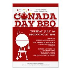 Canada Day BBQ invitation printable Invitation templates Parents