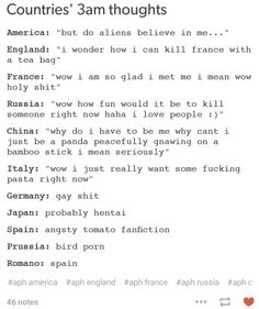 AWWW ROMANO!!!!!!!<<< omg spain and prussia xD <<< I don't care what anyone says. Romano's 3 AM thought is the best. Fight me