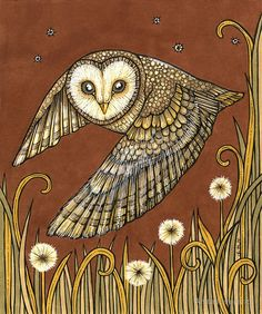 Original Ink Drawing by Anita Inverarity / I love to return to barn owls regularly :)  / I saw my first one in the wild last year in the East Neuk of Fife- A swirl of coffee & cream so silent and close to my ear !!  Been scanning the night sky ever since, as I can hear them in the woods here but they never appear. / Original available at ArtAboyne July 2014- Msg for detail • Buy this artwork on apparel, stickers, phone cases, and more.