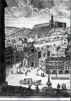 Rossio, Lisbon, before the 1755 earthquake. Old Pictures, Old Photos, Vintage Photos, Old Portraits, Iberian Peninsula, Interesting Buildings, Most Beautiful Cities, Old City, Gravure
