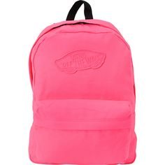"""The Vans Realm backpack in the neon pink colorway will have all eyes on you.  This super cool book bag has a basic style with one main compartment and a small front pocket with organizational pouches for keeping all your supplies or other gear in order. The padded straps and back panel make for comfortable wear to school or on a day trip with friends. The flashy all-over neon pink and matching Vans """"Off The Wall"""" applique patch add style and some neon 1980's love. Shop all style of Vans…"""