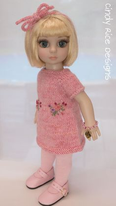 """""""All Sugar and Spice"""", a hand knit and embroidered sweater dress made for Tonner's Patsy and 10"""" Ann Estelle dolls, cindyricedesigns.com ."""