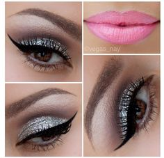 Nicki Minaj VMA inspired look. Silver glitter eyes with pink lips.
