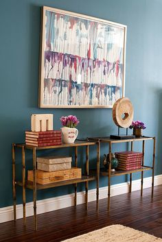 love the rich wall color with natural accents