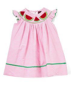 Look what I found on #zulily! Pink Stripe Watermelon Smocked Bishop Dress - Infant, Toddler & Girls #zulilyfinds