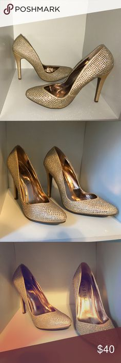 Very cute rhinestone heels! Extremely cute rhinestone heels, they are gold and only worn once for an anniversary. Perfect for any special occasion! Kiss & Tell Shoes Heels