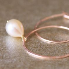 DROPS--Hammered Rose Gold Fill and Pink Pearl Hoop