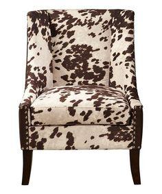 Love this Chocolate Brown Hair-on-Hide-Motif Chair on #zulily! #zulilyfinds