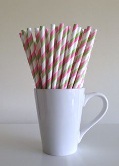 Paper Straws - 25 Light Pink and Light Green and White Double Striped Party Straws Pastel Princess Birthday Wedding Baby Girl Shower Bridal by PuppyCatCrafts, $3.60