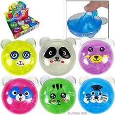 ANIMAL CRYSTAL MUD SLIME. You can stretch this oozy-gooey slime to your heart's content. Assorted colors. Perfect for party treats, Easter basket treats and Christmas stocking stuffers.  Size 4 Inches, packaging 11.5 x 9 x 8 Inches  BUY 12, GET A FREE DISPLAY UNIT
