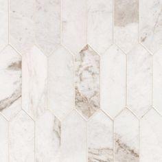 Bianco Orion Picket Marble Mosaic - 12 x 15 - 100464817 Marble Mosaic, Mosaic Tiles, Marble Floor, Carrara Marble, Mosaic Glass, Style Villa, Herringbone Backsplash, Marble Tile Backsplash, Backsplash Ideas
