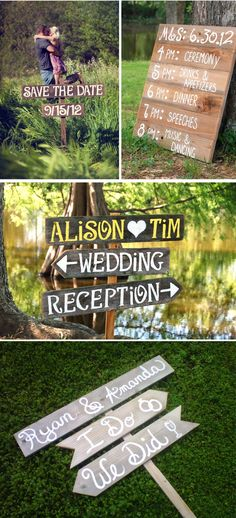 I like the signs pointing in the directions of the ceremony and reception.