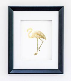 Flamingo Print Art -  Faux Gold Foil - Modern Wall Art