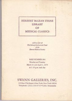 Herbert McLean Evans Library of Medical Classics a 1975 Auction Catalog