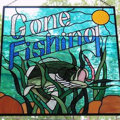 Stained Glass Largemouth Bass Hanging Panel Gone by LivingGlassArt, $350.00