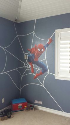 Boy's room, Tait's bedroom with Spiderman on the South and East wall