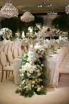 wedding reception long table with gold chairs overflowing flower runner white orchid rose greenery Star Wedding, Wedding Table, Wedding Reception, Dream Wedding, Wedding White, Reception Ideas, Wedding Centerpieces, Wedding Decorations, Rectangle Table Centerpieces