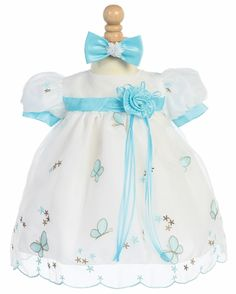 Tiffany Blue Embroidered Butterfly Organza Baby Dress w/Headband
