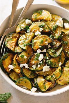 Roasted Zucchini Salad, Roast Zucchini, Italian Dressing, Feta, Salads, Veggies, Recipes, Roasted Summer Squash, Grilled Zucchini