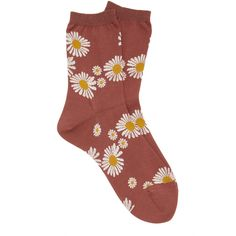 Hansel from Basel Flowers Crew Cotton-Blend Socks ($30) ❤ liked on Polyvore featuring intimates, hosiery, socks, burgundy, cotton blend socks, hansel from basel, ankle high socks, crew socks and ankle high hosiery