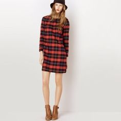 A.P.C Tartan Plaid Shift Dress Size small. Comes with belt, you can wear with or without. Actual measurements in 4th photo. Actual dress in 2nd and 3rd photos. Unbelievable quality and in mint condition. Looks brand spankin' new. APC Dresses Long Sleeve