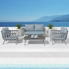 RST Brands Vera Aluminum Patio Conversation Set with Sky Blue Cushions Blue Cushions, Outdoor Cushions, Outdoor Fabric, Outdoor Chairs, Outdoor Furniture Sets, Outdoor Decor, Outdoor Seating Areas, Outdoor Tables, Aluminum Patio