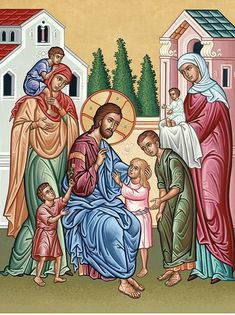 Monastery Icons provides a wonderful selection of icons of Christ that are perfect for your home, like this Christ and Children Icon. Religious Icons, Religious Art, Monastery Icons, Trinidad, Bless The Child, Orthodox Icons, Sacred Art, Christian Art, Roman Catholic