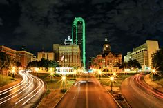 Dallas  Dealey Plaza, the western gateway to downtown Dallas, at night.