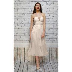 0 Tea Length Wedding, Silk Dress, Boho Fashion, Wedding Gowns, Strapless Dress, Polyvore, Shopping, Collection, Dresses