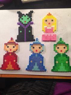 Sleeping Beauty : Maleficent, Aurora and Fairy godmothers perler beads By Katie Binesh