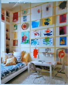 love this method for displaying children's artwork