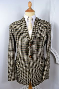 VINTAGE 1960's BURTON BROWN GREEN HARRIS TWEED WOOL BLAZER JACKET LARGE 42 LONG