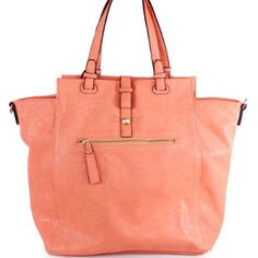 Amazon.com: New Arrival Fashion Solid Zipper Detailed Tote Satchel Shopper Handbag Purse with Adjustable Shoulder Strap in Coral Peach: Clothing $42.99