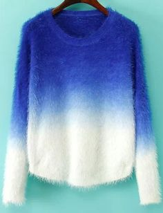 Shop Blue Ombre Long Sleeve Mohair Sweater online. Sheinside offers Blue Ombre Long Sleeve Mohair Sweater & more to fit your fashionable needs. Free Shipping Worldwide!